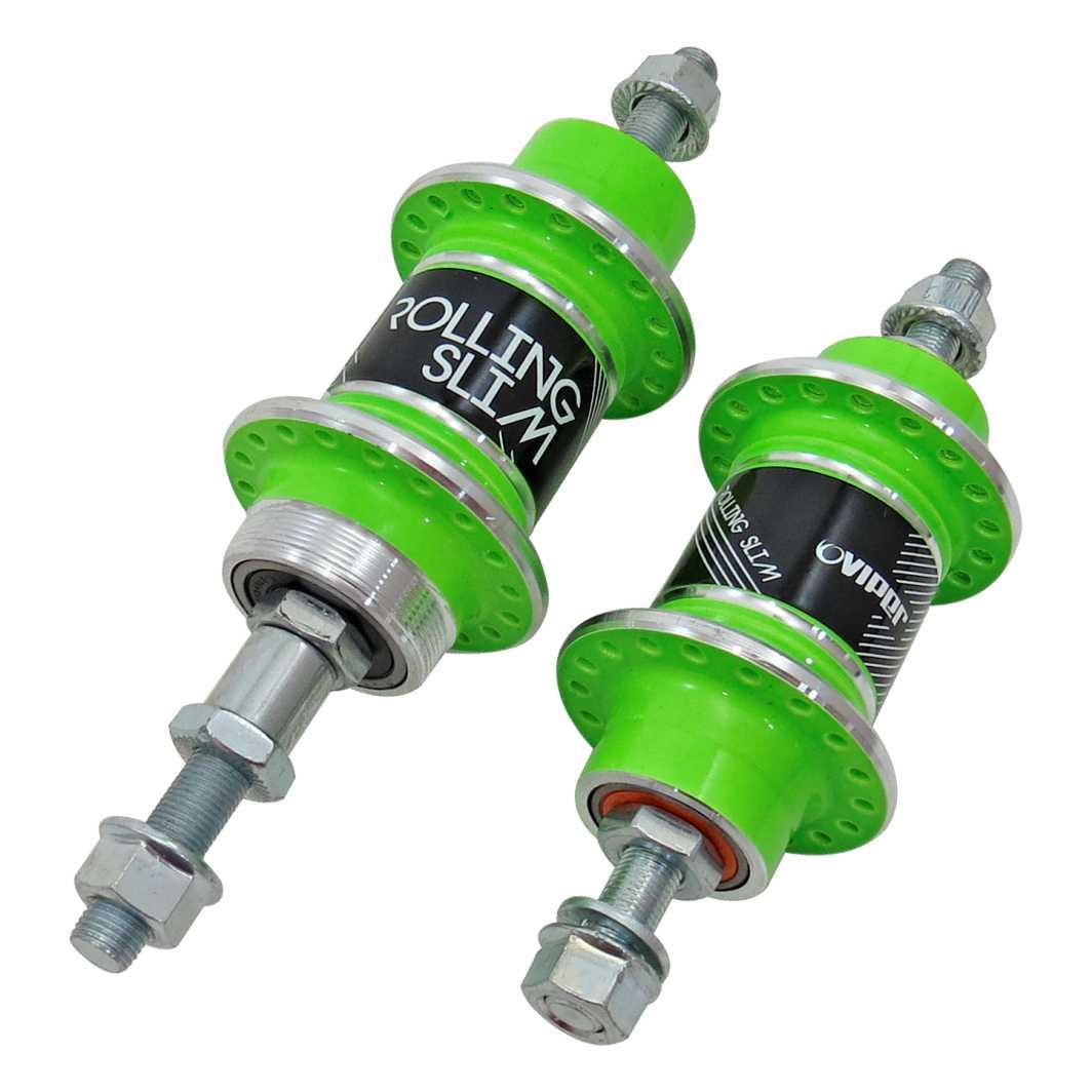 Cubo Dianteiro/Traseiro Aluminio Rolling c/Rolamento Neon Verde