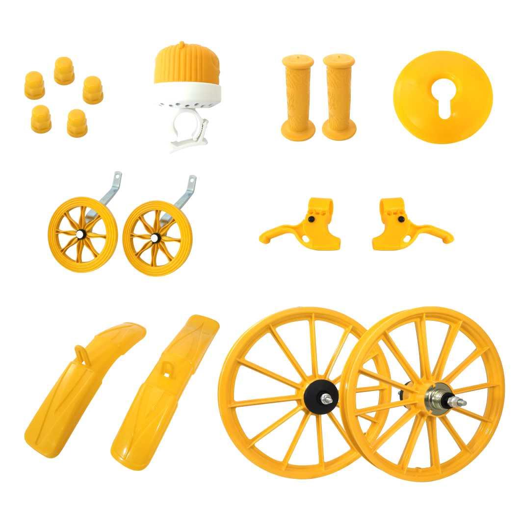 Kit 16 Acessórios Plásticos Amarelo C/Eixo
