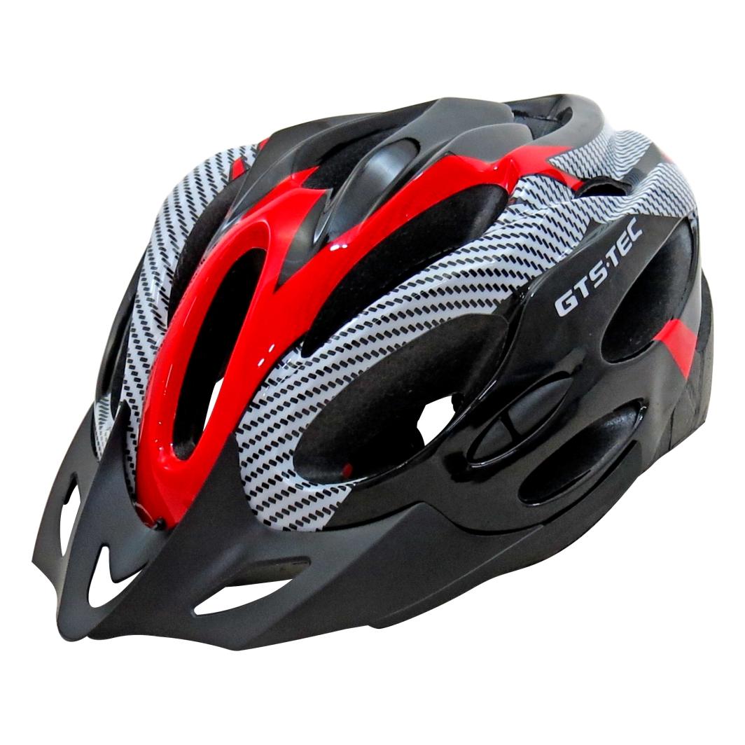 Capacete P/Ciclista G Preto Branco/Vermelho Led