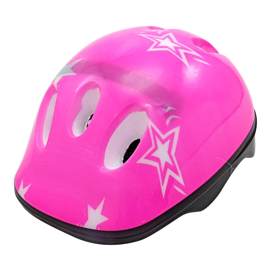 Capacete P/Ciclista Infantil Estrela Rosa/branco