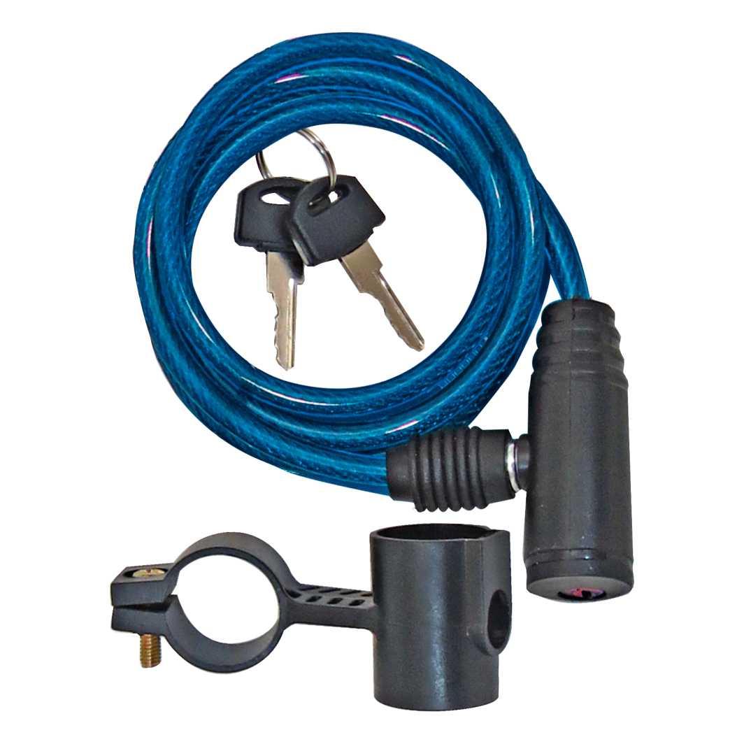 Cadeado Espiral 6X1000mm Azul C/Suporte