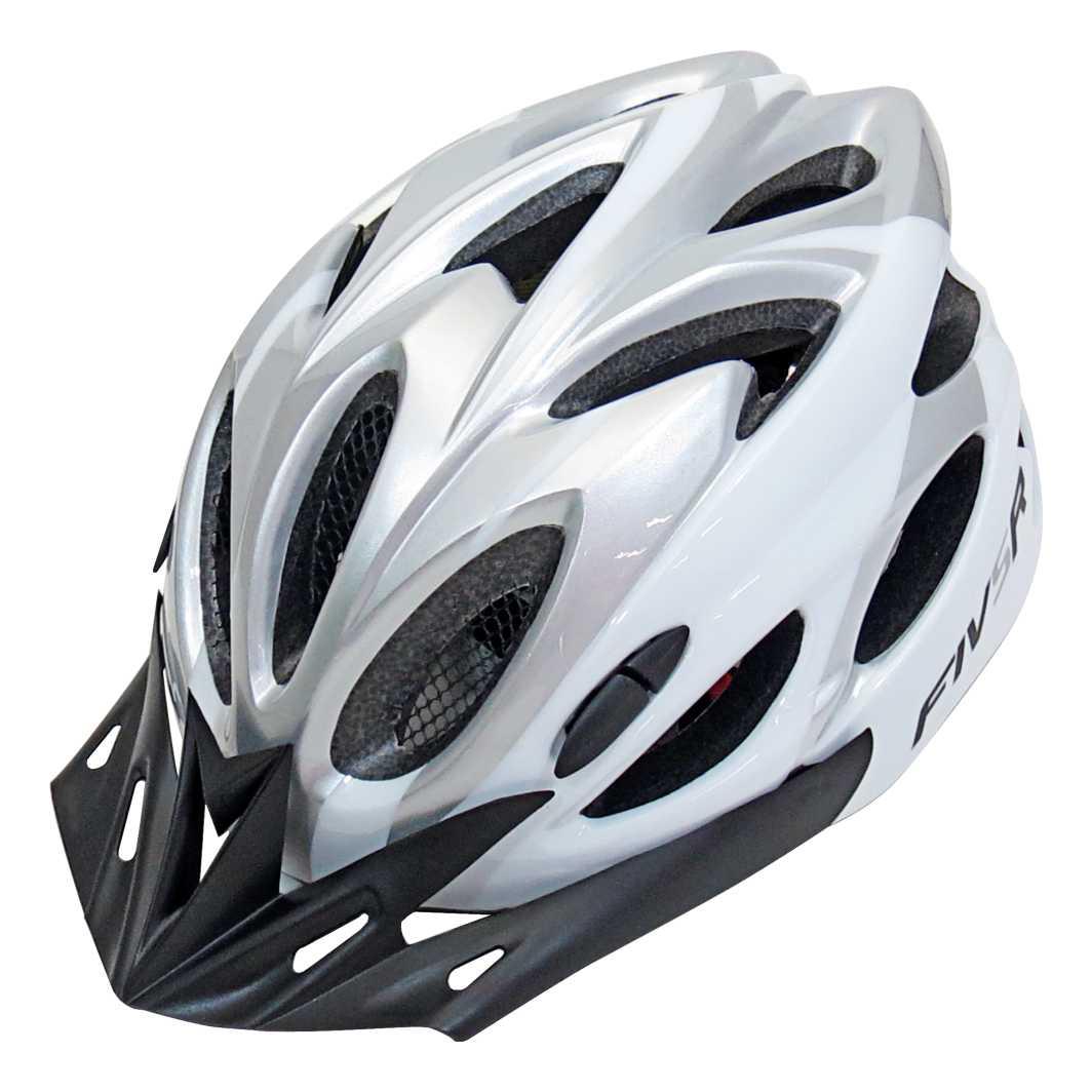 Capacete P/Ciclista fivr Prata/Branco Led