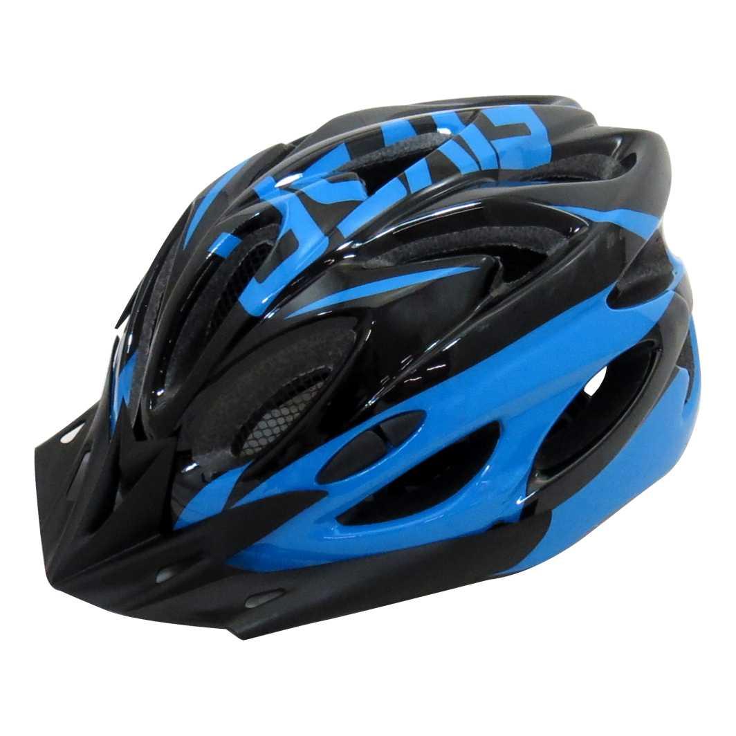 Capacete P/Ciclista 2020.1 Preto/Azul C/Led