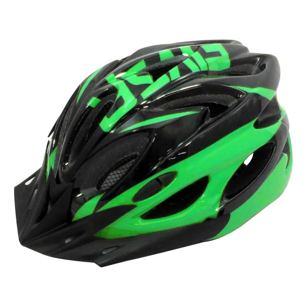 Capacete P/Ciclista 2020.1 Preto/Neon Verde Led