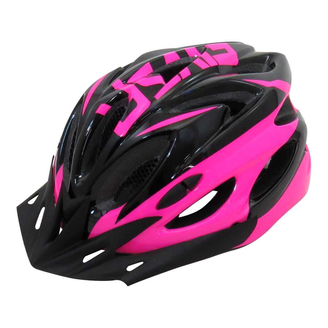 Capacete P/Ciclista 2020.1 Preto/Neon Rosa Led
