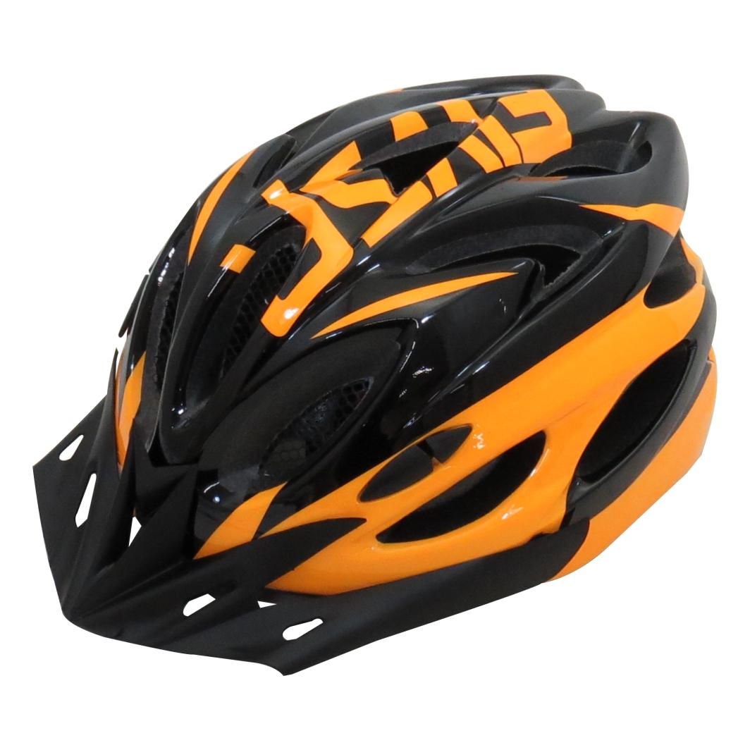 Capacete P/Ciclista 2020.1 Preto/Neon Laranja Led