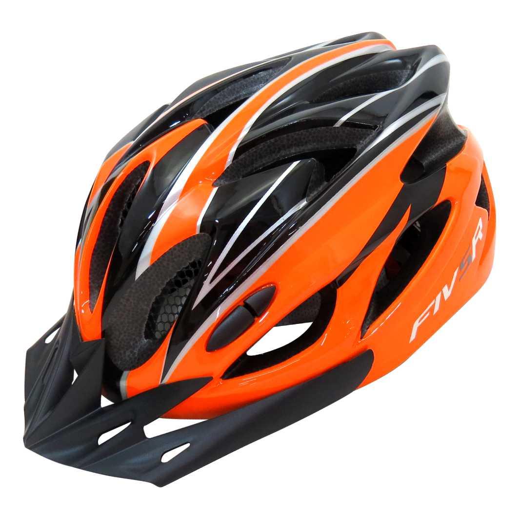 Capacete P/Ciclista FIVR Preto/Laranja Neon Led
