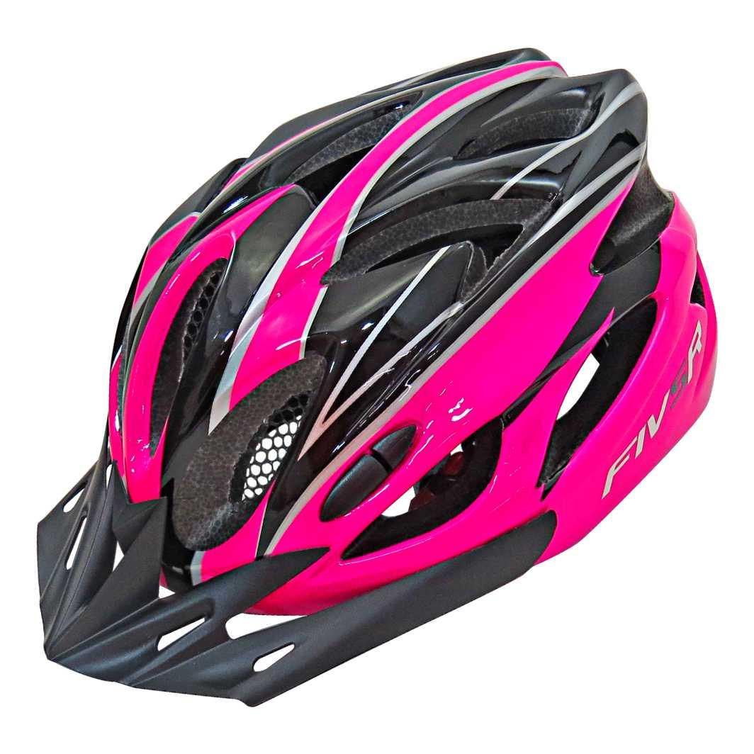 Capacete P/Ciclista FIVR Preto/Roxo Neon Led