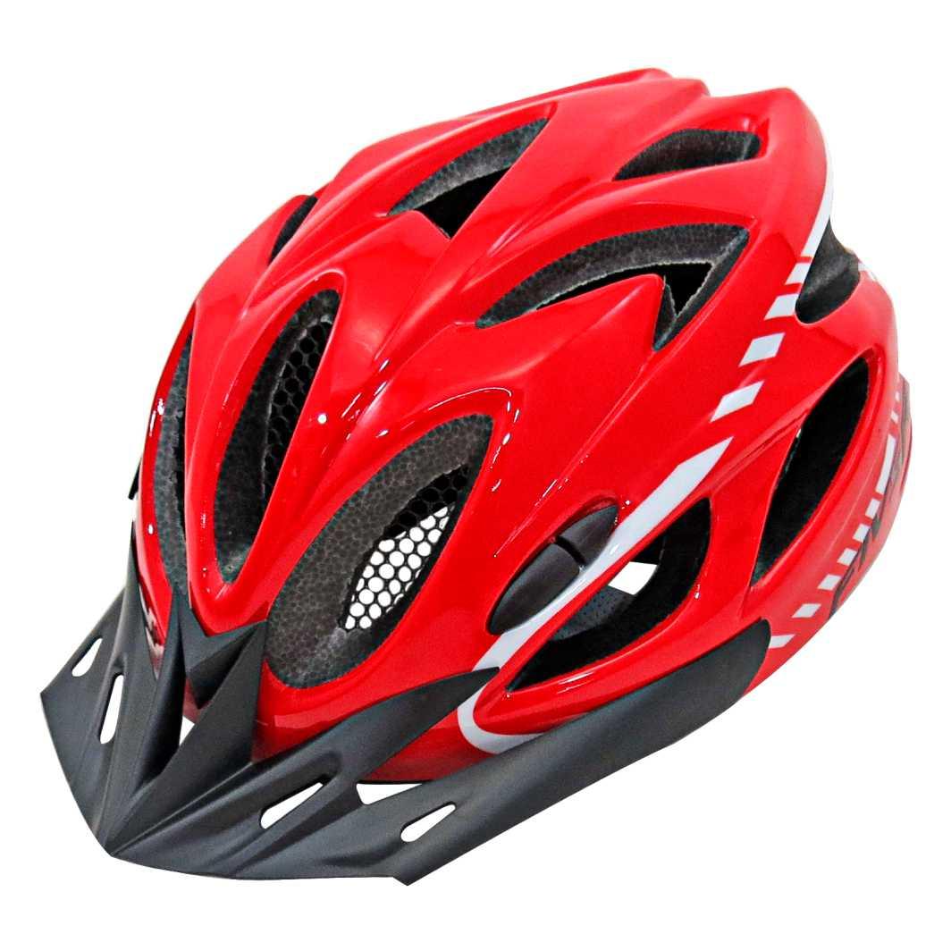 Capacete P/Ciclista FIVR Vermelho Led