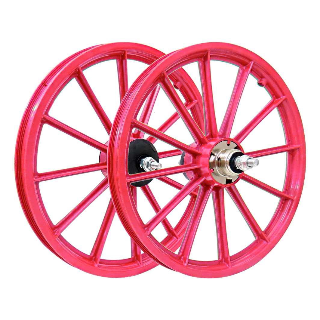 Roda 16 Nylon Raios c/Eixo Vermelha