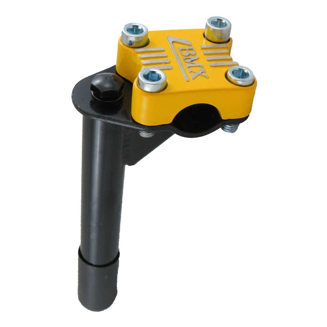Suporte Guidão Aluminio Aço Cromado 4 Parafuso Preto -Top Amarelo 21.1