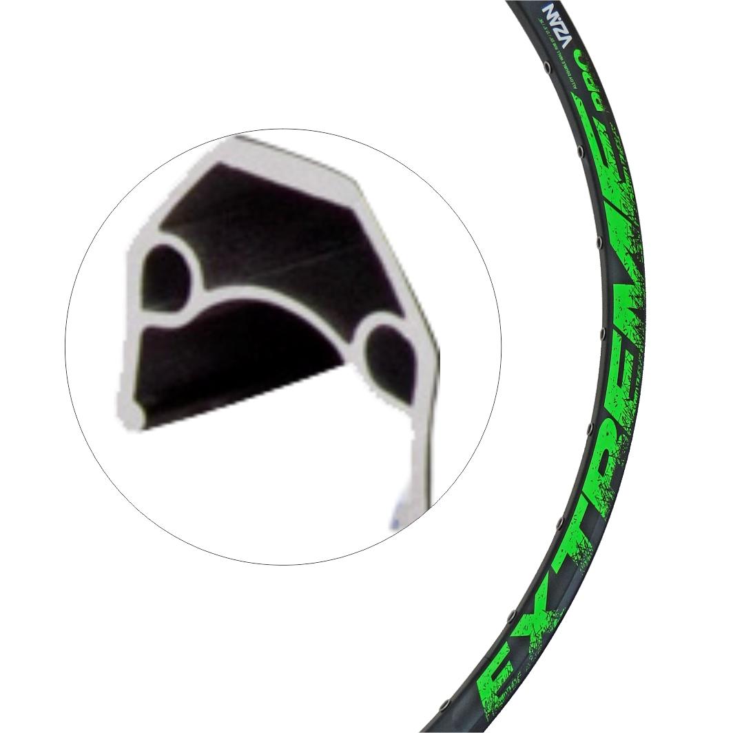 Aro Aluminio 29 Extreme 36f Disco Preto/Neon Verde