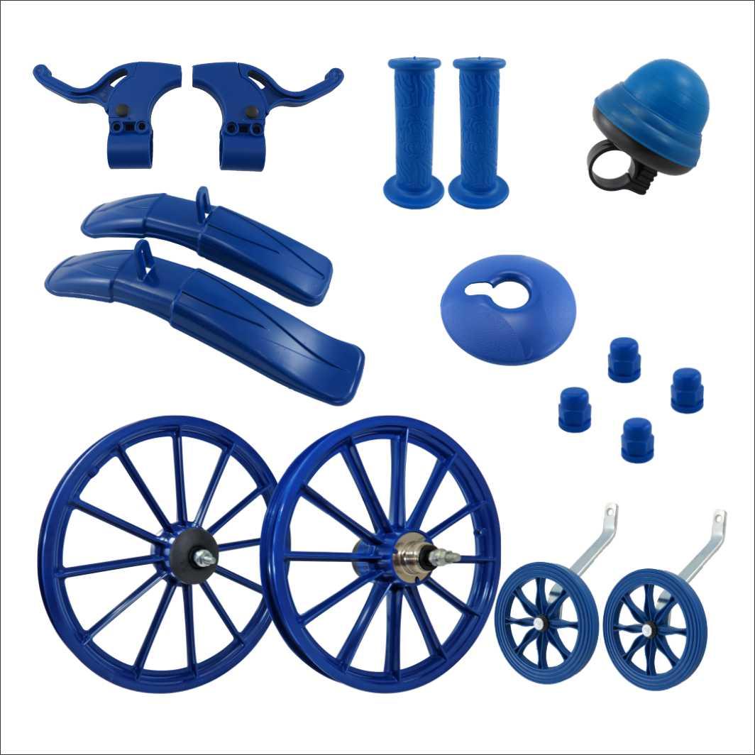Kit 16 Acessorios Plasticos Azul c/Eixo