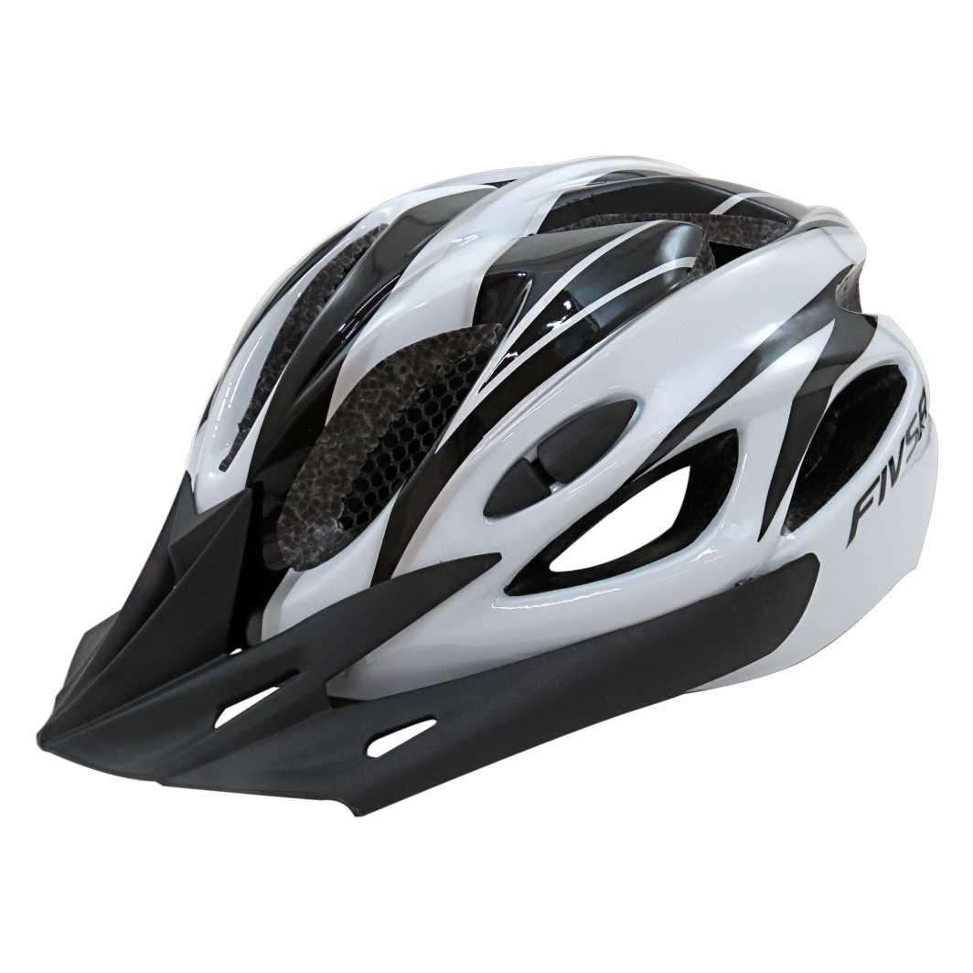 Capacete P/Ciclista FIVR Preto/Branco C/Led