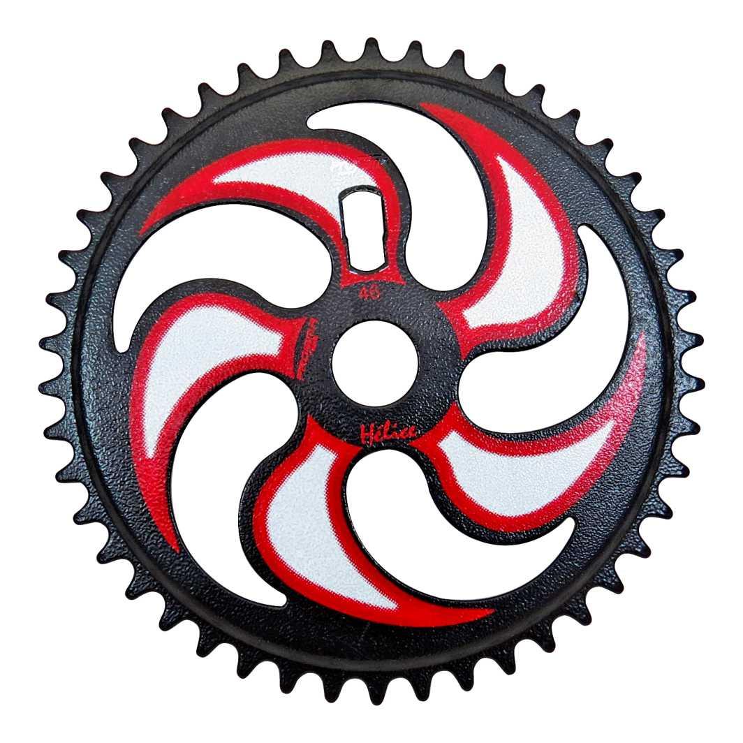 Engrenagem 46D Helice Preto Martelado Branco/Vermelho