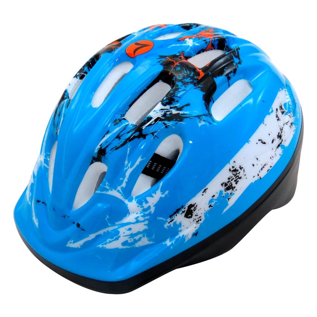 Capacete P/Ciclista Infantil Azul C/Led