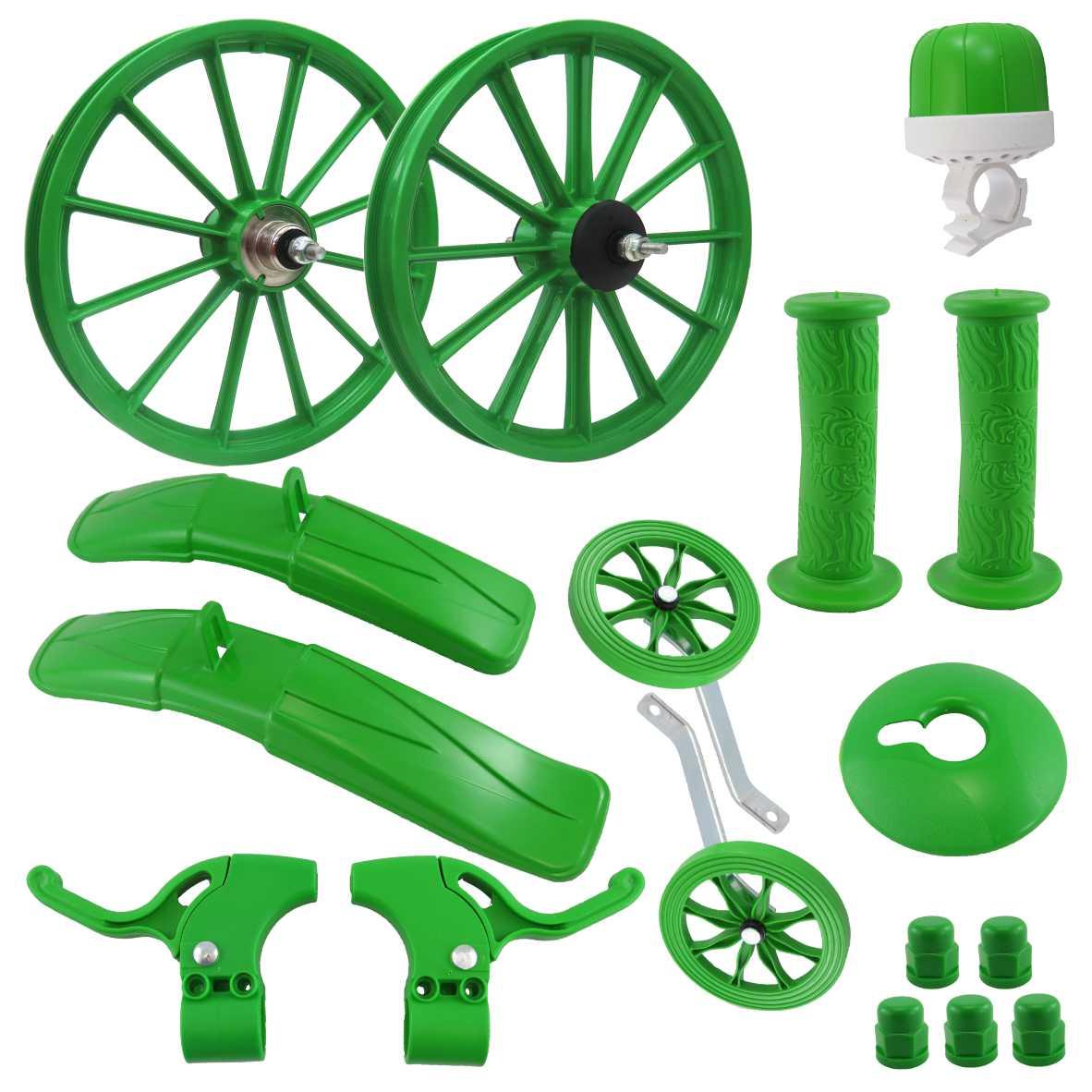 Kit 16 Acessorios Plasticos Verde c/Eixo