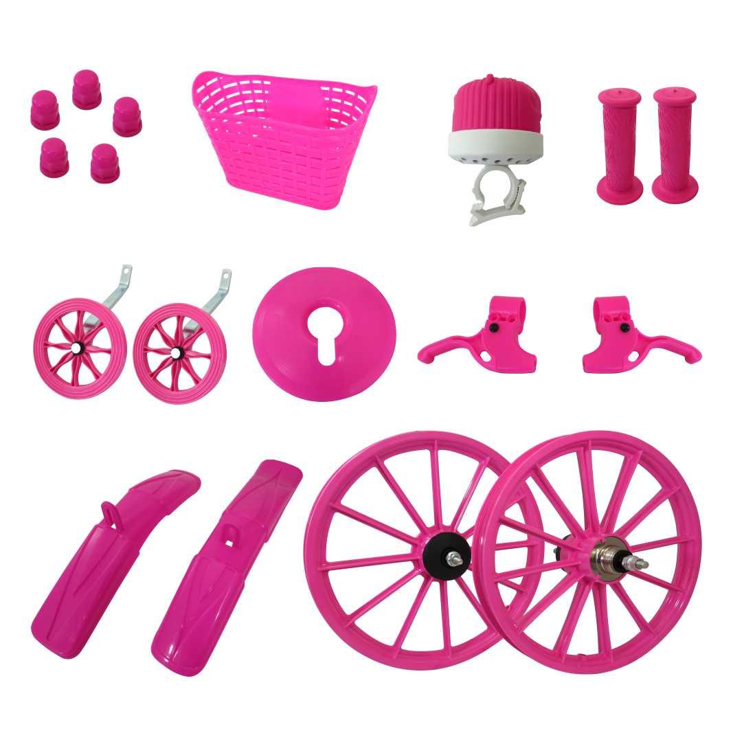 Kit 16 Acessorios Plasticos Rosa C/eixo