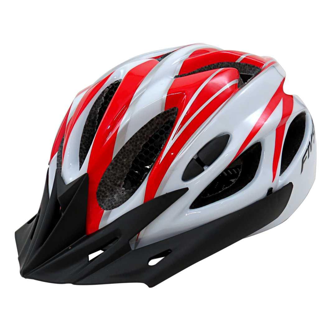 Capacete P/ciclista Fiv5r Vermelho/Branco C/led
