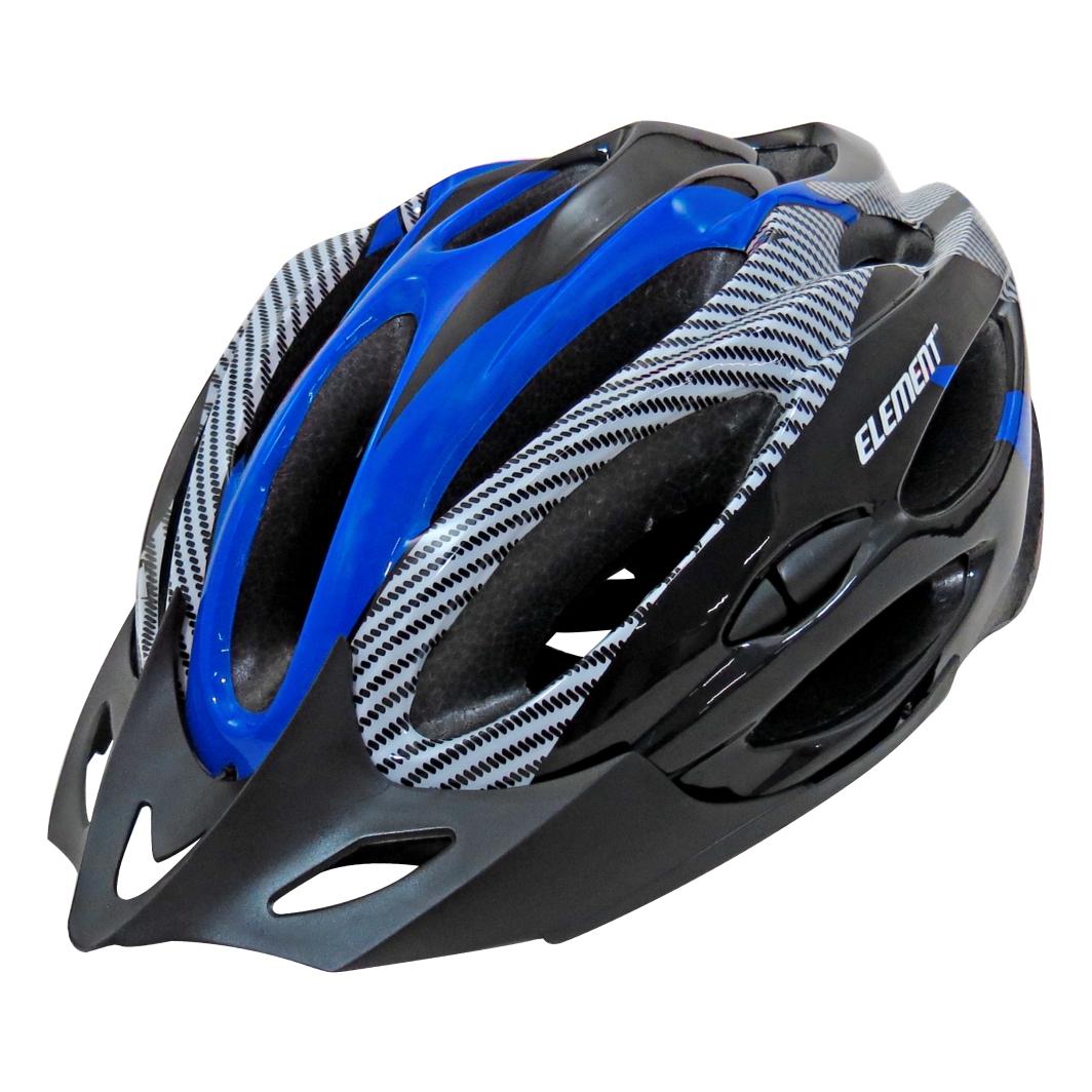 Capacete P/Ciclista G Preto Branco/Azul Led