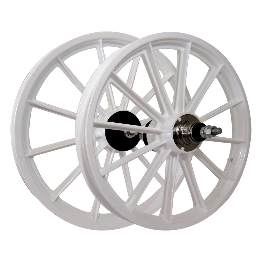 Roda 16 Nylon Raios C/Eixo Branca
