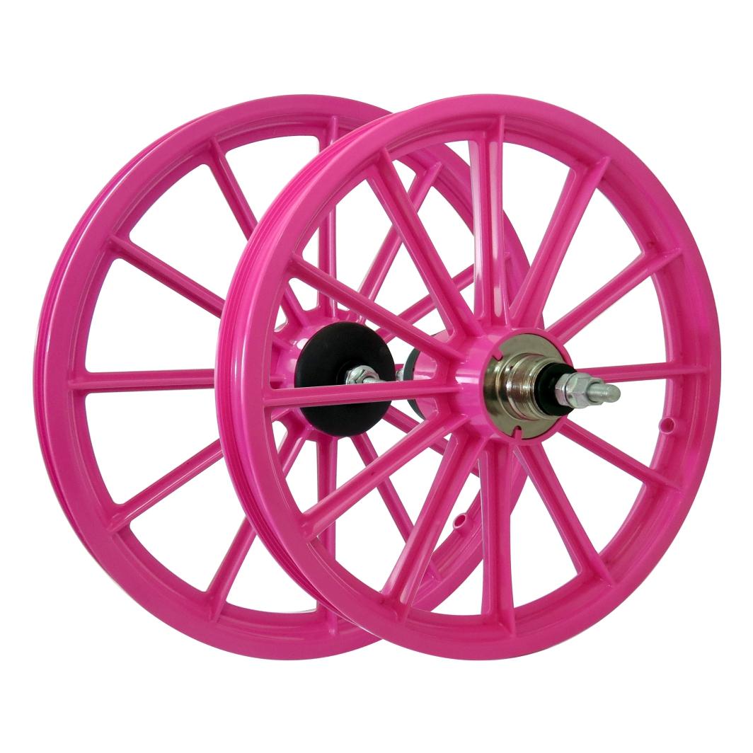Roda 16 Nylon Raios c/Eixo Rosa