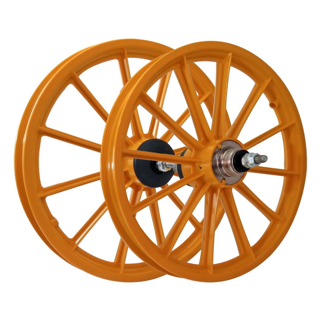 Roda 16 Nylon Raios C/Eixo Laranja