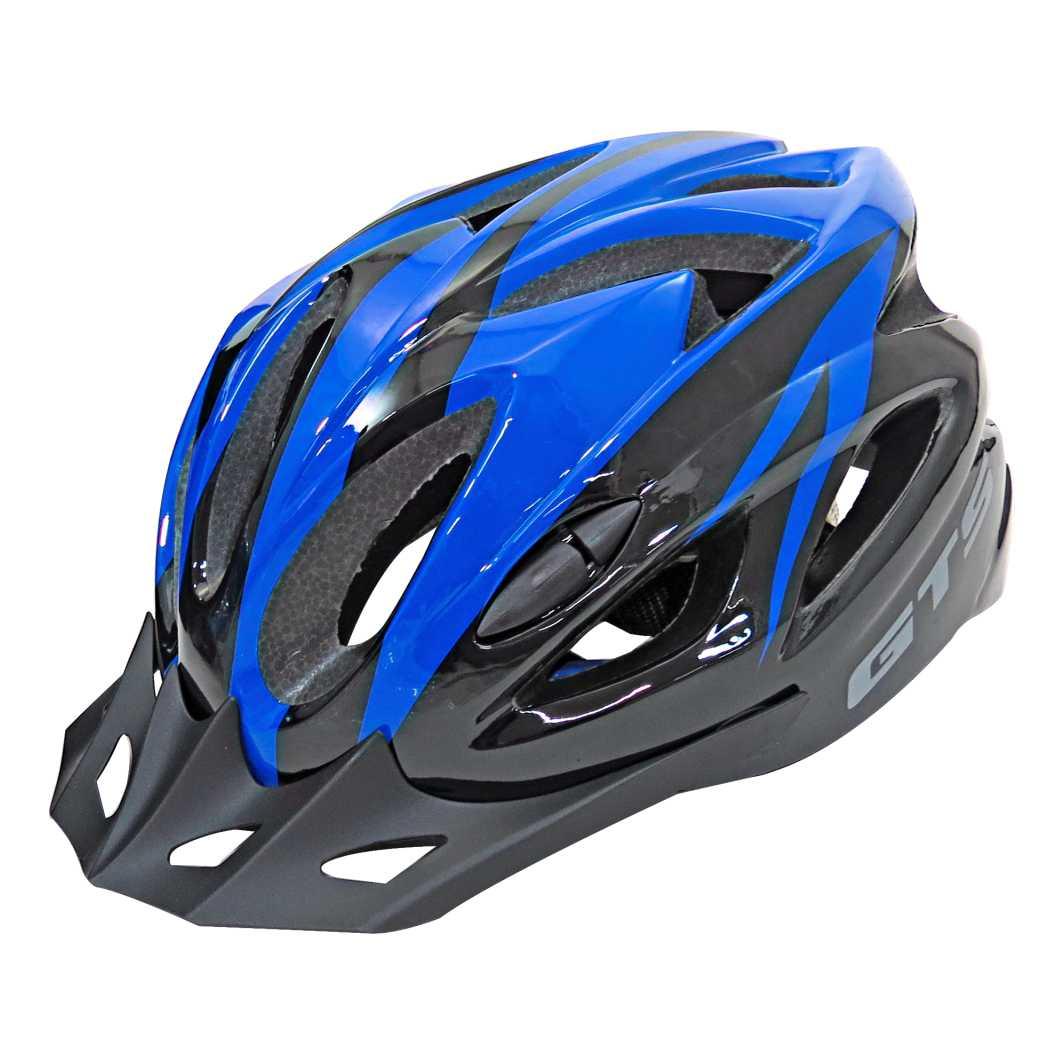 Capacete P/Ciclista WT12 M Azul Brilhante Led
