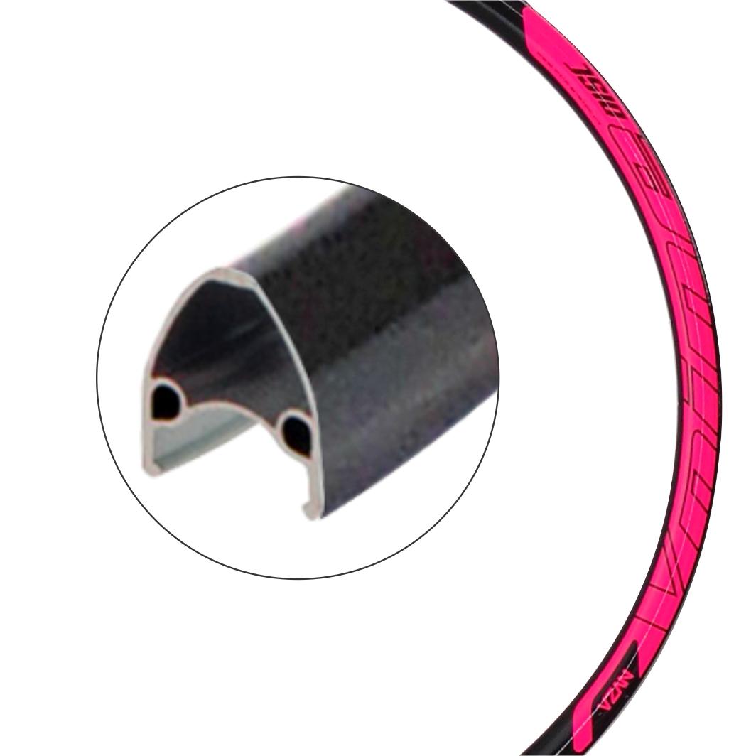 Aro Aluminio 29 Vnine 36F Disco Preto/Neon Rosa