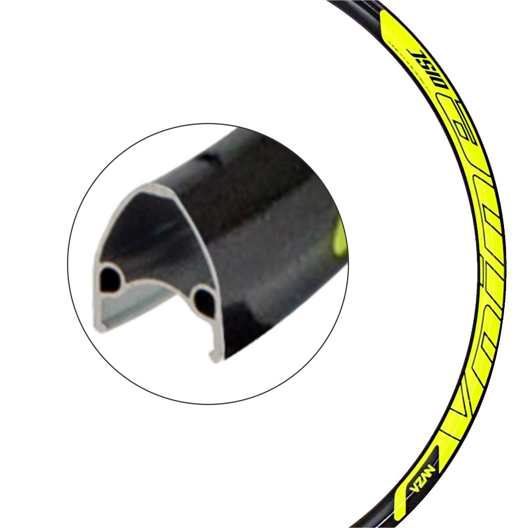 Aro Aluminio 29 Vnine 36F Disco Preto/Neon Amarelo