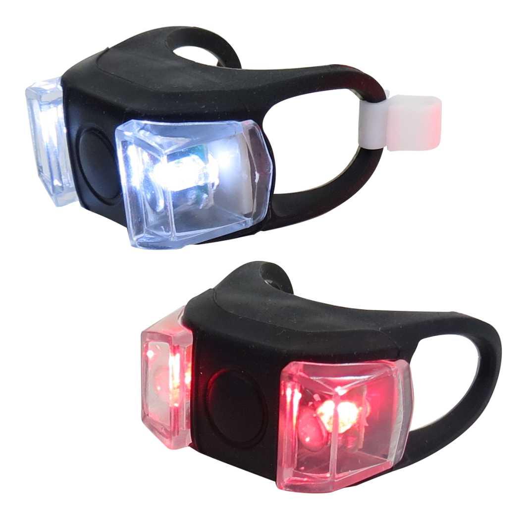 Lanterna Silicone 02 Leds Preto Branco/Vermelho
