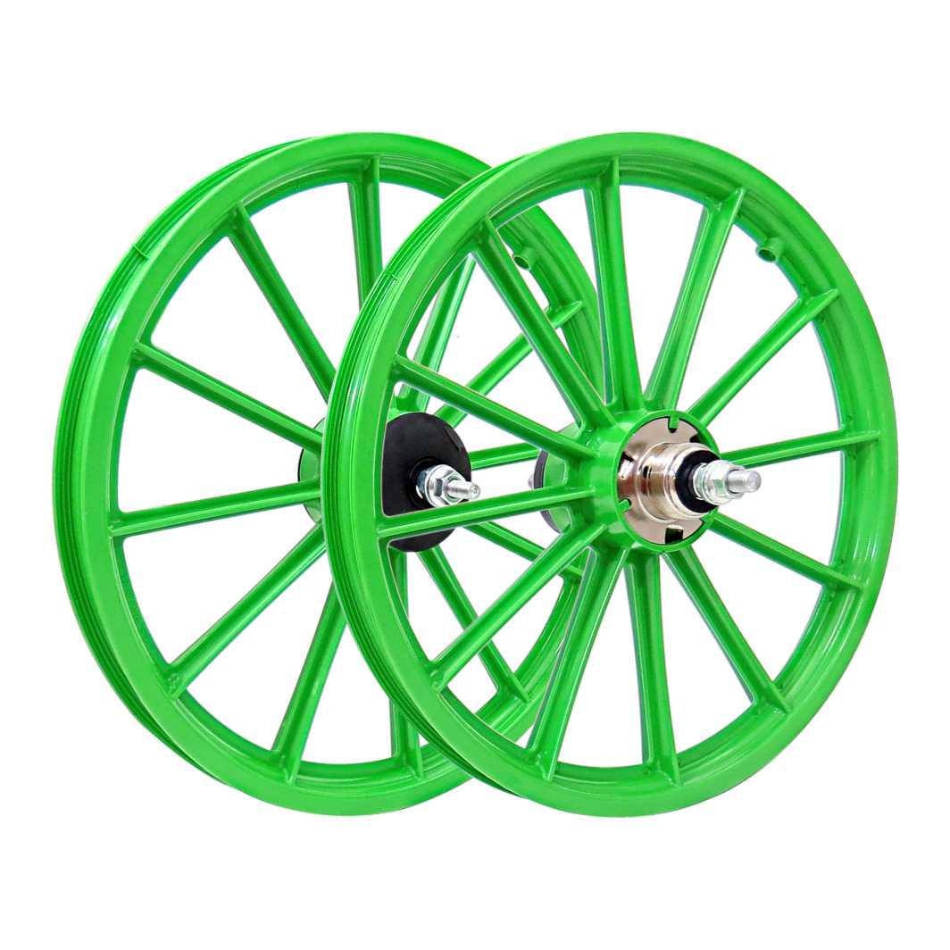 Roda 16 Nylon Raios C/Eixo verde
