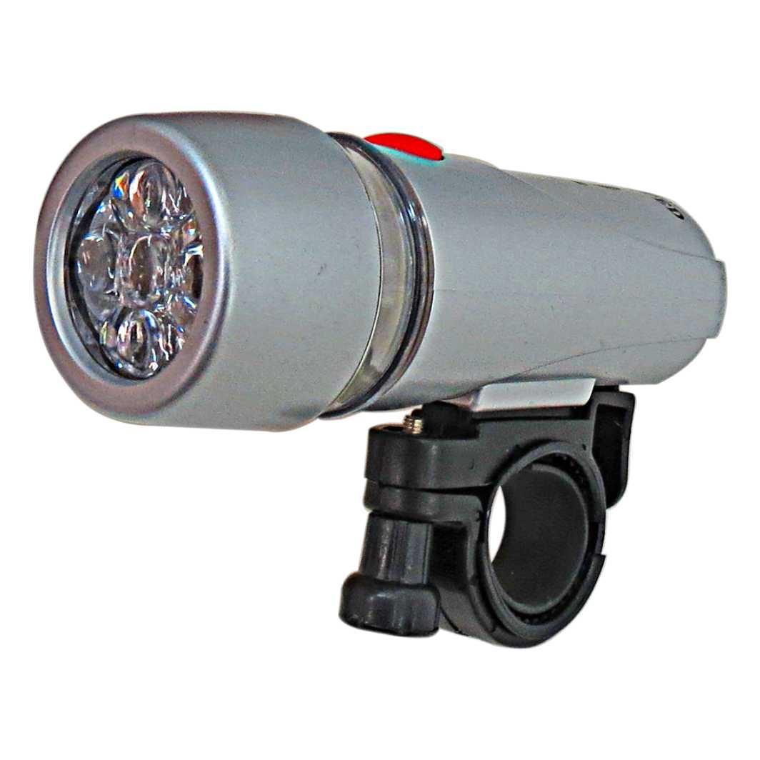 Farol 5 Leds C/Bateria Prata JY 808