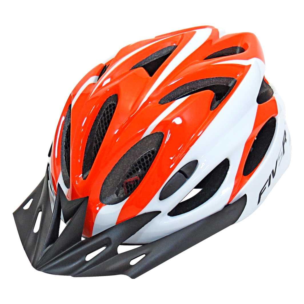 Capacete P/Ciclista FIVR Branco/Laranja Led