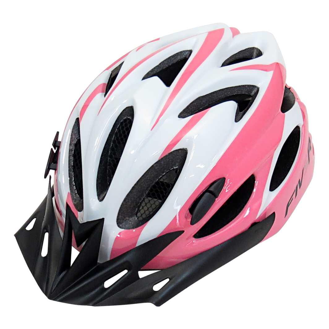 Capacete P/Ciclista FIVR Branco/Rosa C/Led