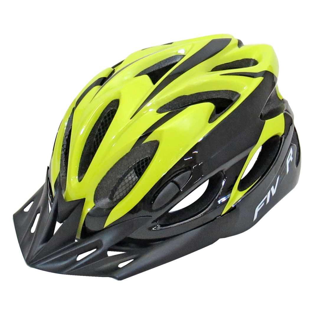 Capacete P/Ciclista FIVR Preto/Amarelo Neon Led