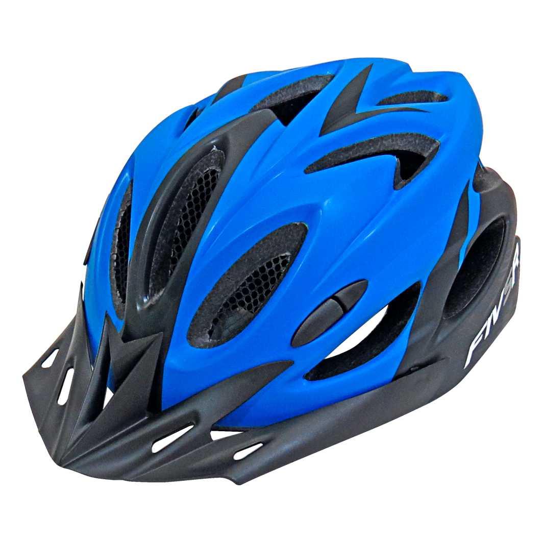 Capacete P/Ciclista FIVR V Preto Fosco/Azul Led