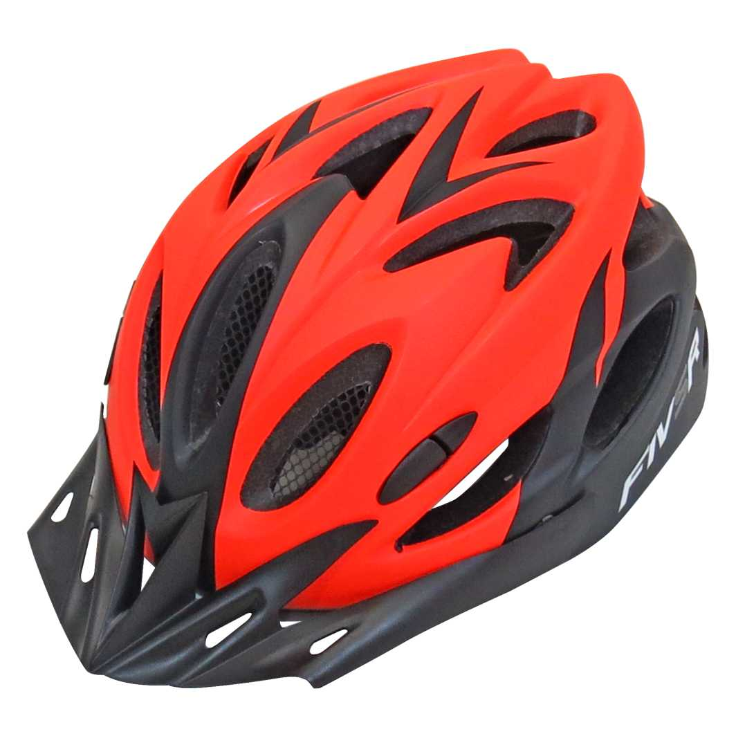 Capacete P/Ciclista FIVR V Preto Fosco/Laranja Led