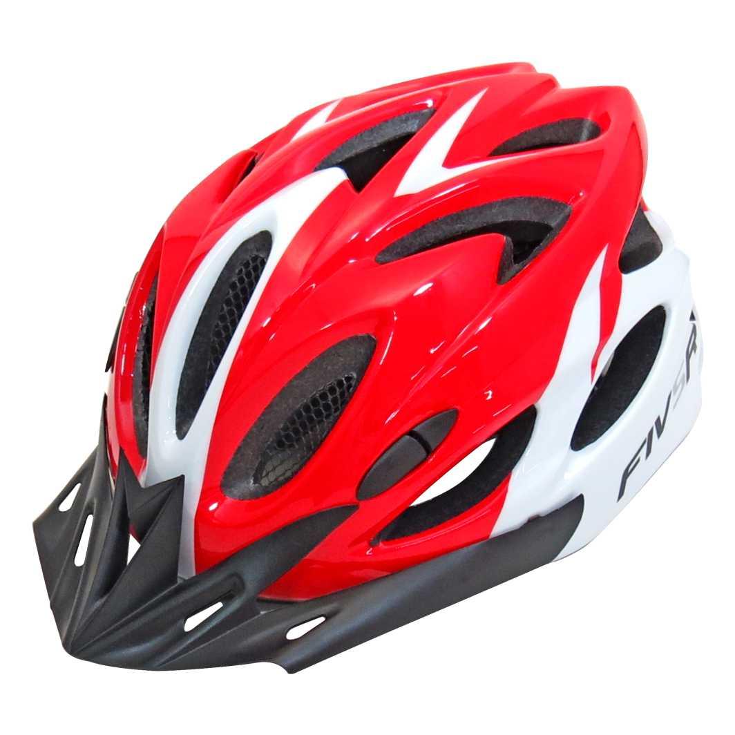 Capacete P/Ciclista FIVR V Vermelho/Branco Led
